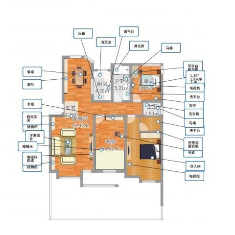春江花月2室2厅1卫1厨121.00㎡户型图