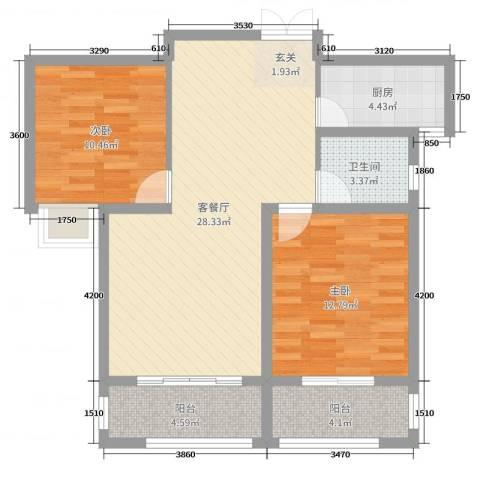 润德天悦城2室2厅1卫1厨93.00㎡户型图