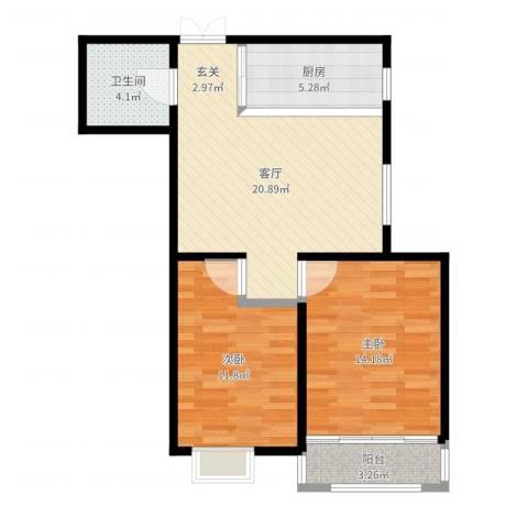 新梅江雅境新枫尚2室1厅1卫1厨74.00㎡户型图