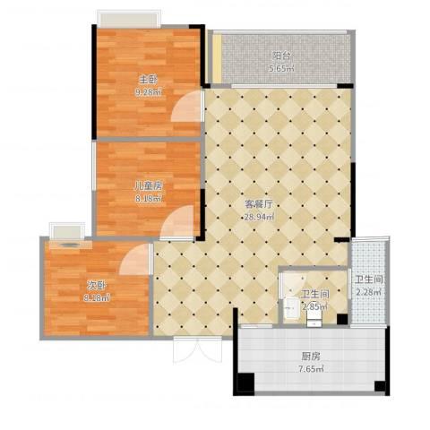 寰宇世家3室2厅2卫1厨91.00㎡户型图