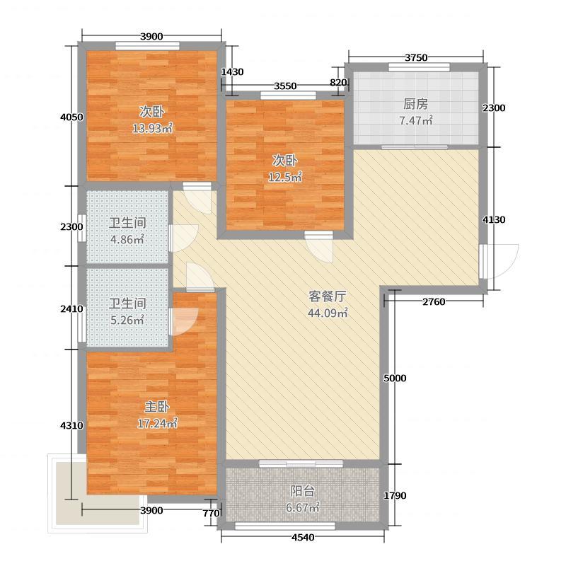 雍雅锦江138.33㎡7号楼标准层M户型3室3厅2卫1厨
