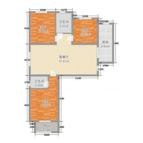 雍雅锦江3室2厅2卫1厨124.00㎡户型图