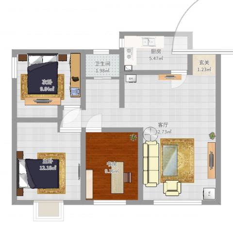 峰华都市花园3室1厅1卫1厨89.00㎡户型图