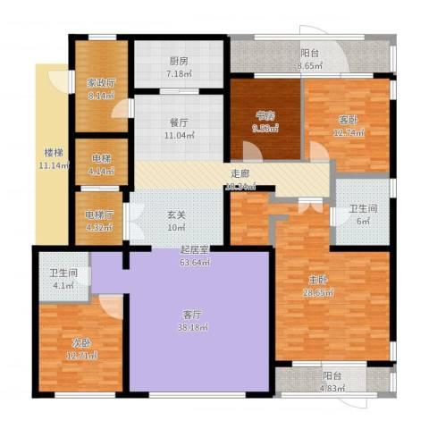 五矿万科・如园4室1厅3卫2厨218.00㎡户型图