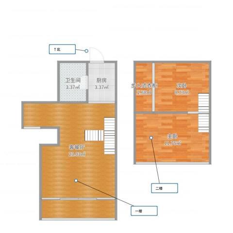 东方顺景2室2厅1卫1厨72.00㎡户型图