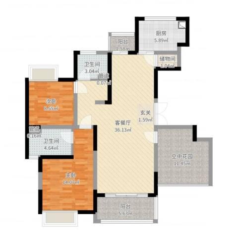 中联・君悦2室2厅2卫1厨115.00㎡户型图