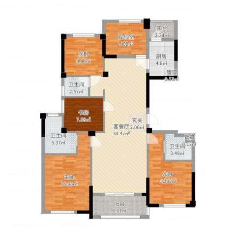 奉化中央花园4室2厅3卫1厨145.00㎡户型图