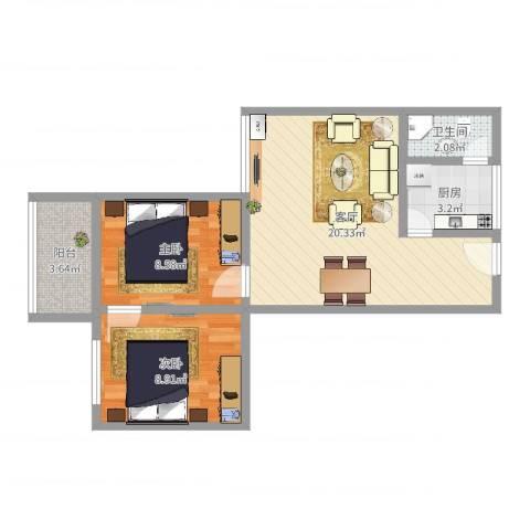 龙津商贸大厦2室1厅1卫1厨58.00㎡户型图