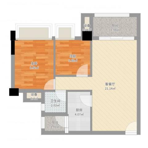 黄石大厦2室2厅1卫1厨60.00㎡户型图