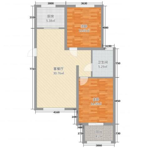 雍雅锦江2室2厅1卫1厨92.00㎡户型图
