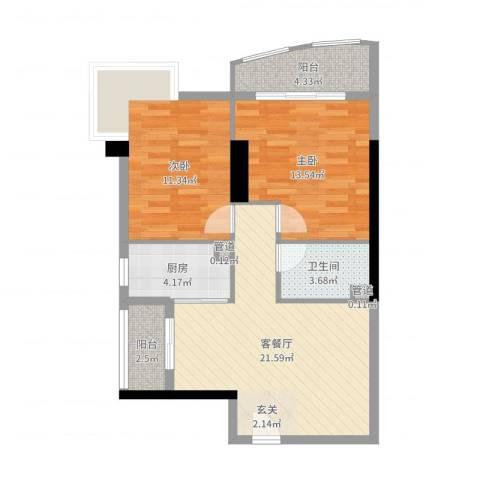 中强雅苑2室2厅1卫1厨77.00㎡户型图
