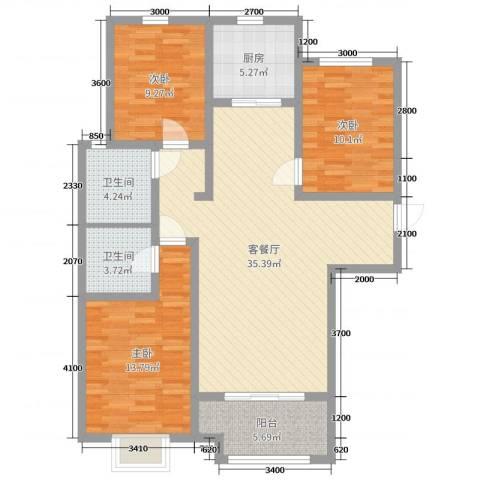 天洲视界城3室2厅2卫1厨134.00㎡户型图