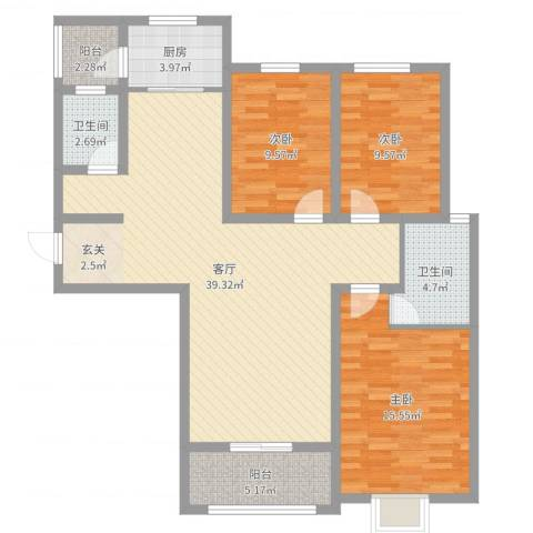 金色奥园3室1厅2卫1厨116.00㎡户型图