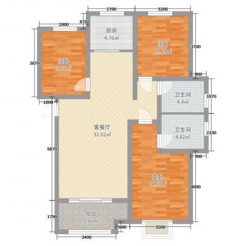 天洲视界城3室2厅2卫1厨130.00㎡户型图