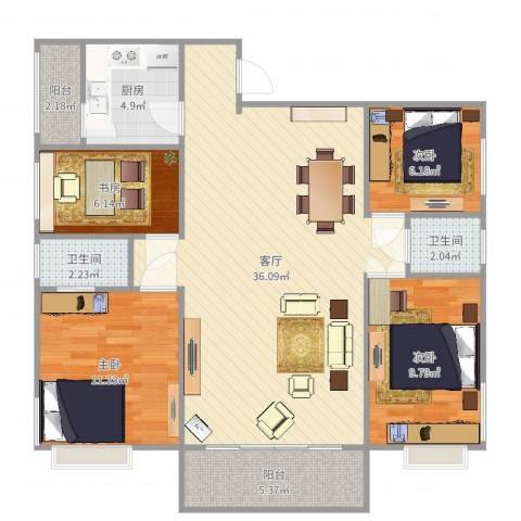 江南雅筑4室1厅2卫1厨108.00㎡户型图