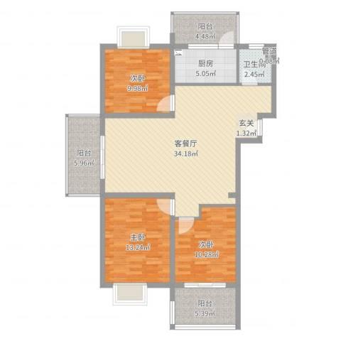 天瑞名城3室2厅1卫1厨114.00㎡户型图