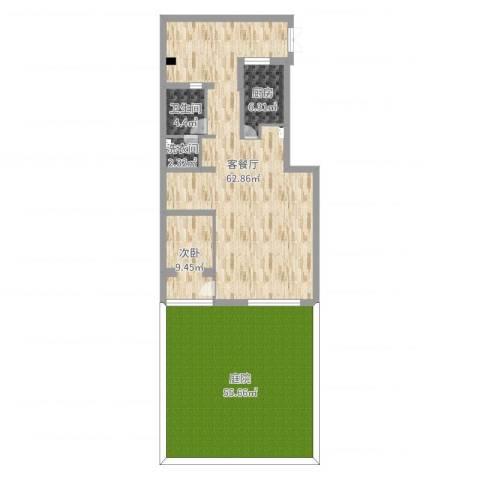 社会山花园1室2厅1卫1厨176.00㎡户型图