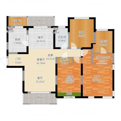 仁恒森兰雅苑二期3室2厅2卫1厨160.00㎡户型图
