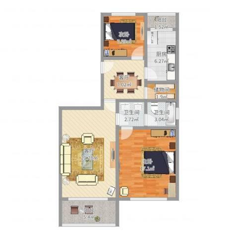虹景花苑2室2厅2卫1厨92.00㎡户型图