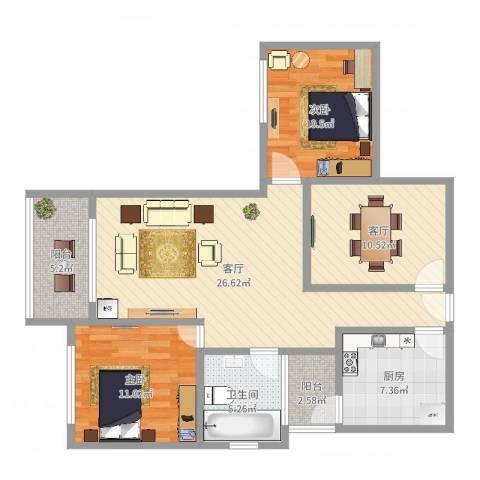 绿洲雅宾利花园绿景晓园2室2厅1卫1厨99.00㎡户型图