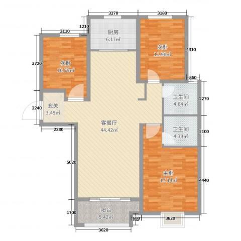 铂宫时代3室2厅2卫1厨130.00㎡户型图
