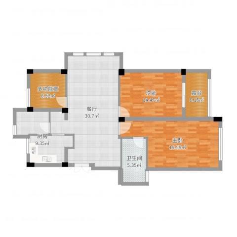 恒厚阳光城2室1厅1卫1厨114.00㎡户型图