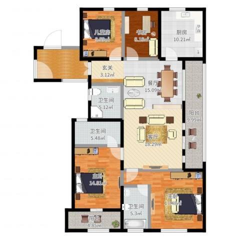 前程藏珑5室1厅3卫1厨170.00㎡户型图