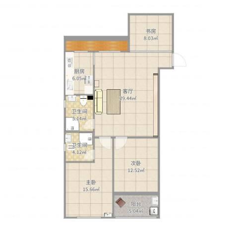 西涝台御鑫园3室1厅2卫1厨112.00㎡户型图