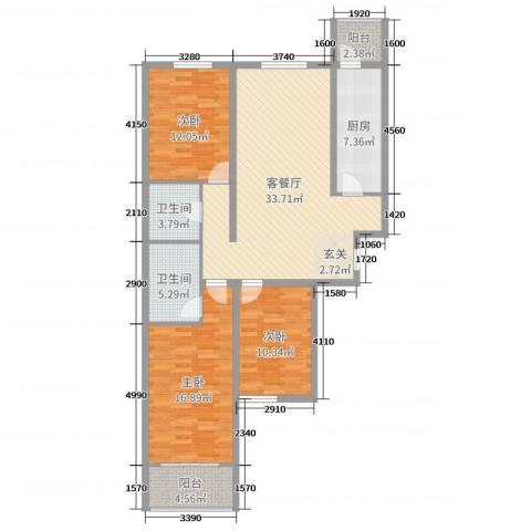 来福花园3室2厅2卫1厨96.38㎡户型图