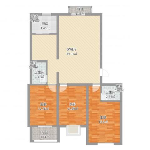 飞宇花园南区3室2厅2卫1厨119.00㎡户型图