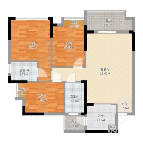 奥林匹克花园红城3室2厅2卫1厨106.00㎡户型图
