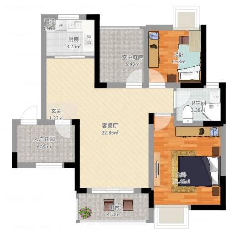 瑞泽源一里洋房2室2厅1卫1厨92.00㎡户型图
