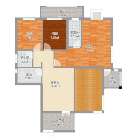 北湖星城五期3室2厅2卫1厨116.00㎡户型图