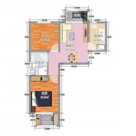 双港新家园民盛园2室2厅1卫1厨82.00㎡户型图