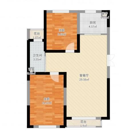 蓝色港湾2室2厅1卫1厨81.00㎡户型图