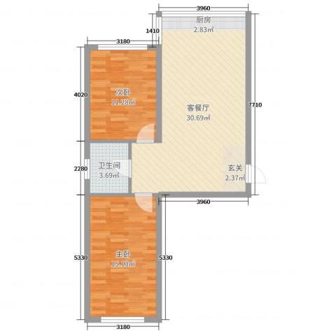 铭丰渤海明珠家园2室2厅1卫0厨75.00㎡户型图