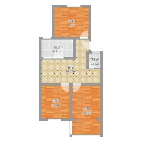 营苑西村3室1厅1卫1厨75.00㎡户型图