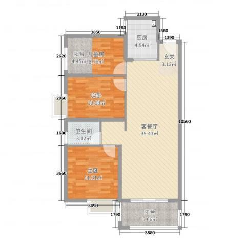 桃源华庭3室2厅1卫1厨100.00㎡户型图