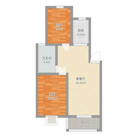 水沐楼台公寓2室2厅1卫1厨79.00㎡户型图