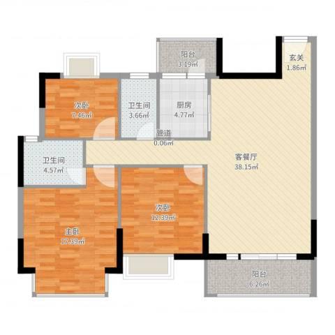丰泰裕田花园3室2厅2卫1厨122.00㎡户型图