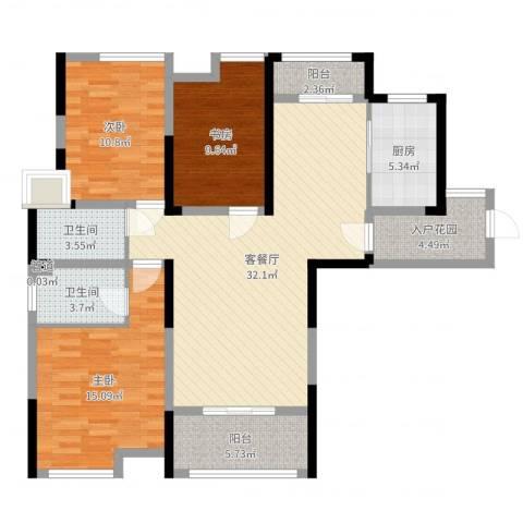 济民可信艾溪康桥3室2厅2卫1厨116.00㎡户型图