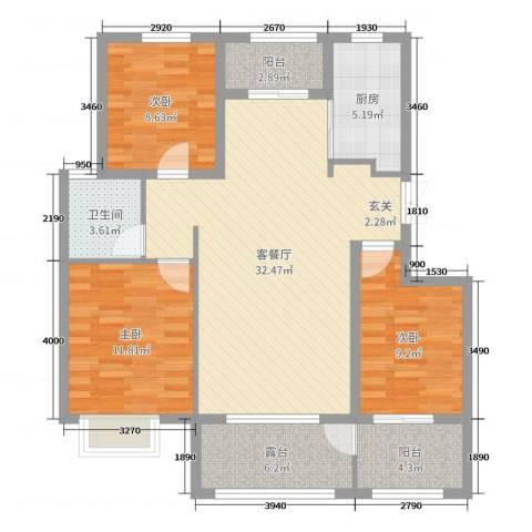 润德天悦城3室2厅1卫1厨118.00㎡户型图