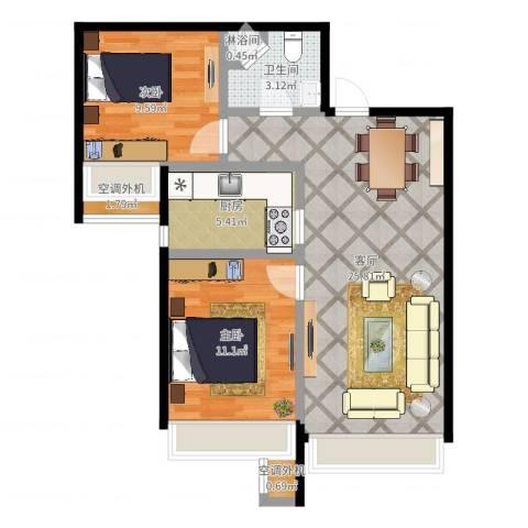 保利罗兰香谷二期2室1厅1卫1厨72.00㎡户型图