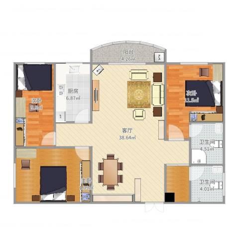 福津大街358#3013室1厅2卫1厨123.00㎡户型图