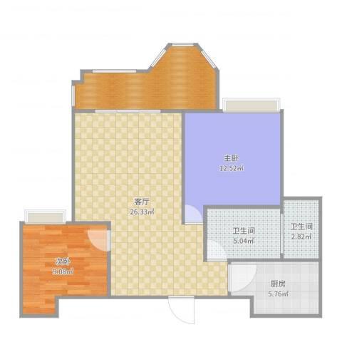 优山美地2室1厅3卫1厨88.00㎡户型图