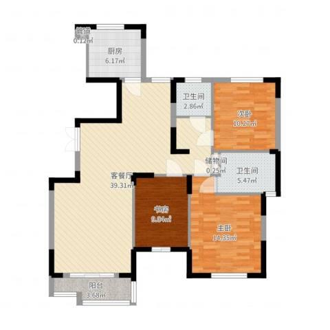 天鹅湖畔3室2厅2卫1厨114.00㎡户型图