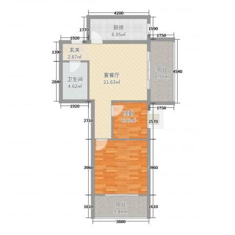 来福花园2室2厅1卫1厨64.63㎡户型图