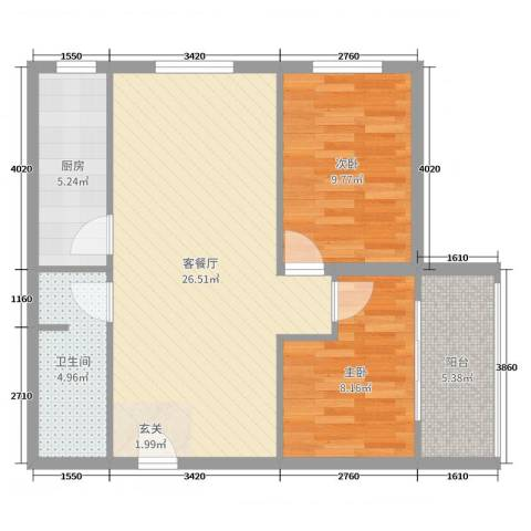来福花园2室2厅1卫1厨76.00㎡户型图