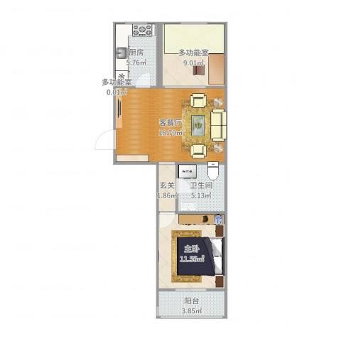 西高润生园1室2厅1卫1厨70.00㎡户型图
