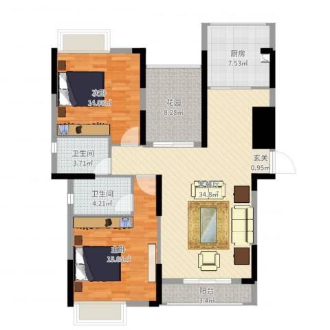 春华星运城2室2厅2卫1厨115.00㎡户型图